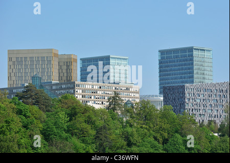 Modern buildings at the Plateau de Kirchberg in Luxembourg, Grand Duchy of Luxembourg - Stock Photo