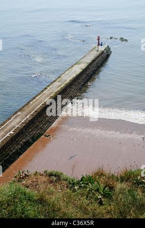 Two children fishing on the end of the breakwater at Langstone Rock in Dawlish, Devon - Stock Photo