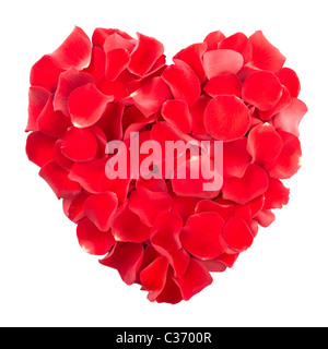 Red rose petals heart isolated - Stock Photo