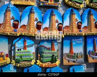 Detail of tourist souvenirs, fridge magnets showing the famous elements of Blackpool Lancashire UK - Stock Photo