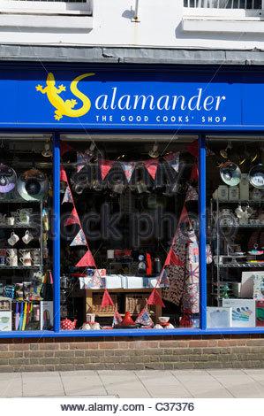 Close up image of Salamander Cook Shop with sign and window display, Wimborne Minster, Dorset, England - Stock Photo
