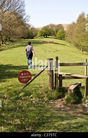 Public footpath through military training area, Holcombe, West Pennines, Bury, Lancashire, UK - Stock Photo