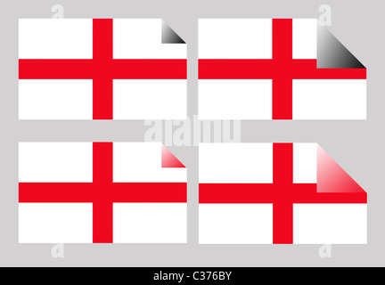 Set of England or English Cross of Saint George labels or stickers isolated. - Stock Photo