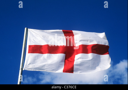 St. George's Flag Saint George national flags England English red cross flagpole flagpoles pole poles flagstaff - Stock Photo