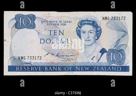 10 dollars New Zealand banknote - Stock Photo