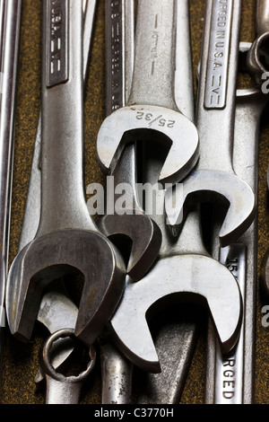 Close-up macro photograph of a mechanic's tools in a tool box - Stock Photo