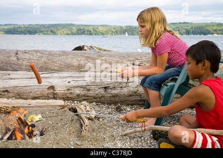 children roasting hotdogs over beach fire - Stock Photo