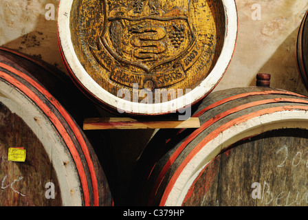 Wine cellar, barrels close-up, Zakarpattia province, western Ukraine - Stock Photo