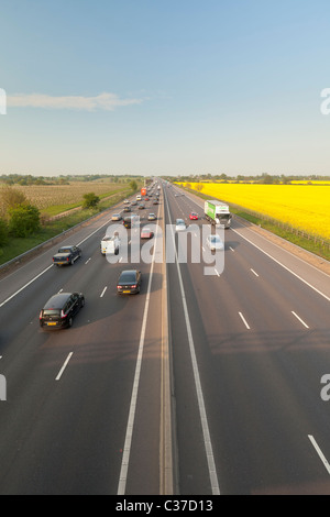 The M11 motorway on a summer day, Essex, England - Stock Photo