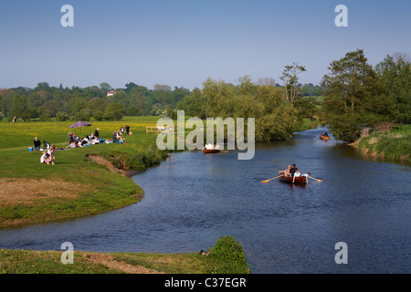 Dedham River Stour Essex Suffolk Borders Springtime Easter Bank Holiday 2011 - Stock Photo