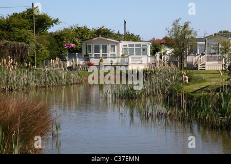 A static caravan holiday home on a site in Lincolnshire, England, U.K. - Stock Photo