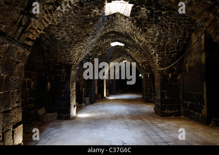 View of the vaulted tunnel of the Roman theatre at Bosra Syria - Stock Photo