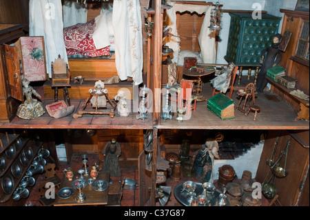 London, U.K., Antique Children's Doll house on Display Inside 'London Toy & Model Museum' 'Nuremberg House, 1673' - Stock Photo