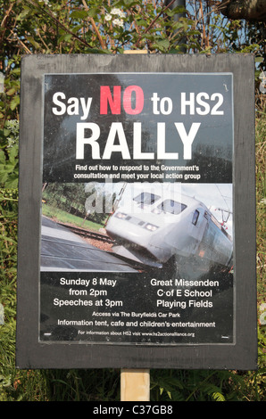 Poster for an anti High Speed 2 (HS2-proposed railway) rally in May 2011 near Great Missenden, Buckinghamshire, UK.