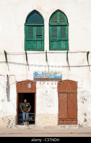 shop in massawa eritrea with ottoman influenced architecture - Stock Photo