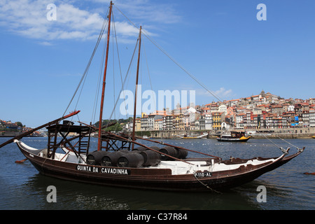 Rabelo Boats on the River Douro at Vila Nova de Gaia on the opposite bank of the river to Porto in Portugal. - Stock Photo
