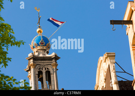 Amsterdam Westertoren, Westchurch West Western Church Tower, icon and symbol for the city. Imperial Crown and flag - Stock Photo