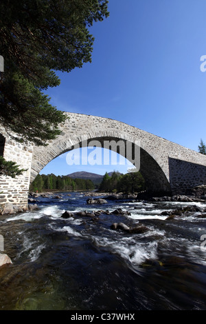 The newly refurbished (2011) old Invercauld Bridge over the River Dee near Braemar in Aberdeenshire, Scotland, UK - Stock Photo