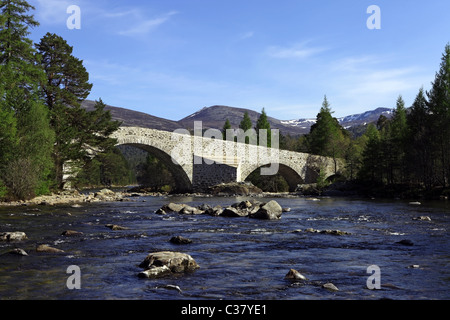 The newly refurbished (2011) old Invercauld Bridge over the River Dee near Braemar in Aberdeenshire, Scotland, UK - Stock Photo