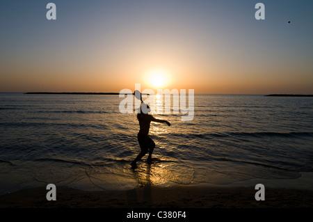 The beach in Tel Aviv during sunset. - Stock Photo