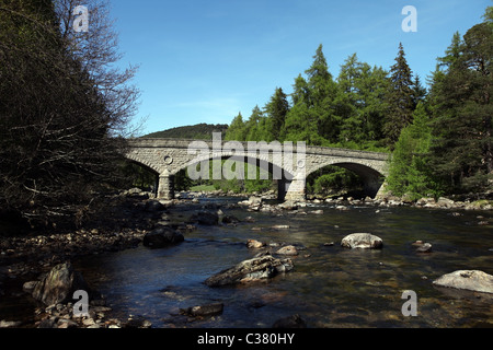 The new Invercauld Bridge commissioned by Prince Albert over the River Dee near Braemar in Aberdeenshire, Scotland, - Stock Photo