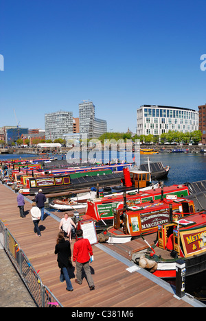 Narrowboats moored in Salthouse Dock ( Albert Dock tourist area ) in Liverpool Docks for the Spring on the Waterfront - Stock Photo