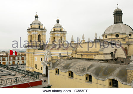 Rear view of Basilica y Convento de San Francisco de Lima (Saint Francis Monastery). Lima, Peru - Stock Photo