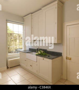 Bath cream Pantry with a view of the Belfast sink - Stock Photo