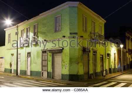 Empty night scene on the corner of Camana and Rufino Torrico in central Lima at Night. Lima, Peru, South America - Stock Photo