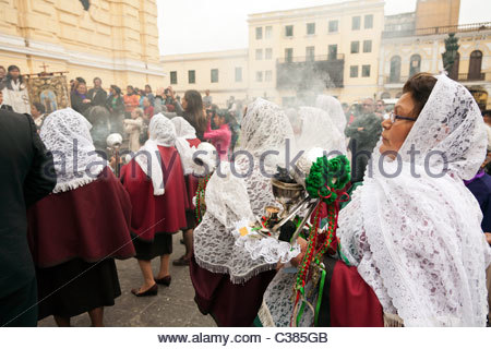 Crowd celebrating Señor de los Milagros (Lord of Miracles) in front of Saint Francis Monestary. Lima, Peru. - Stock Photo