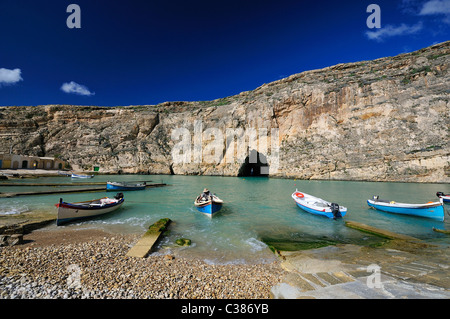 Inland Sea, Dwejra Bay, Saint Lawrence, Gozo island, Malta, Europe - Stock Photo