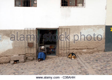 Old woman and a dog asleep on the street in front of a shop. Cusco, Peru. - Stock Photo