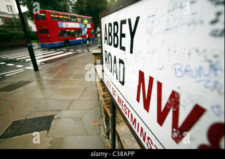 The famous pedestrian crossing outside Abbey Road Studios used by The Beatles on thier album Abbey Road, London. - Stock Photo