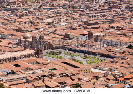 View of Cusco old town center and Plaza de Armas, Cusco, Peru. - Stock Photo