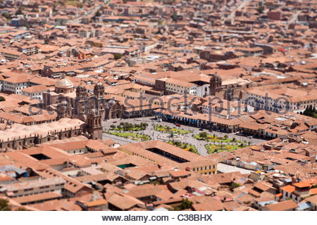 Tilt-Shift view of Cusco old town center and Plaza de Armas, Cusco, Peru. - Stock Photo
