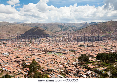 Wide view of Cusco Historical Center from surrounding hills. Cusco, Peru - Stock Photo