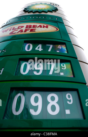 A BP price board showing petrol and diesel prices from 2007. - Stock Photo