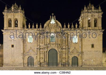 Cusco Cathedral on Plaza de Armas at Night, Cusco, Peru. - Stock Photo