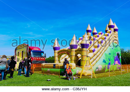 Dilwyn village show, Herefordshire, UK. Bouncy castle inflatable ride. - Stock Photo