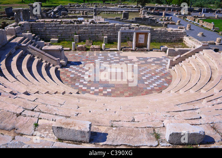 Ancient Greek amphitheater in Ancient Messini in Greece - Stock Photo