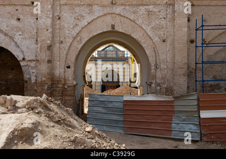 Marrakech, Morocco,15-4-2011. restoration work being carried out at the Kasbah Mosque. - Stock Photo