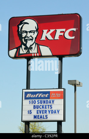 Kentucky Fried Chicken KFC fast food restaurant sign - Stock Photo