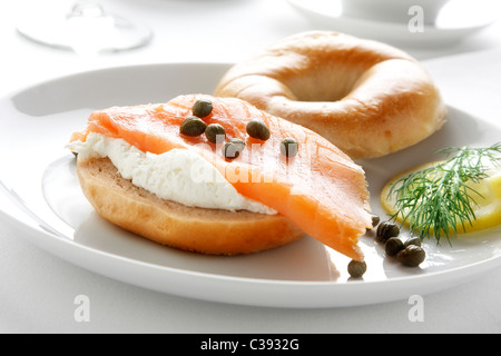 Lox , Bagels and Cream Cheese - Stock Photo