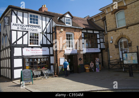 Leominster Herefordshire England UK Antique centre and tea shop in Corn Square - Stock Photo