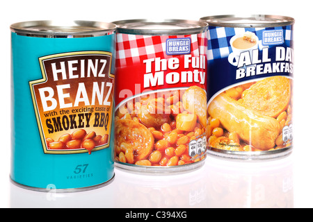 Three cans of beans meals - Stock Photo