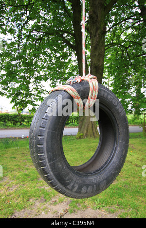 Old car tyre used as swing stock photo royalty free image for Old tyre uses