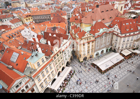An ariel view on the Old Town square from Orloj (astronomical clock tower), Prague, Czech Republic - Stock Photo