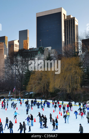 people skate in central park manhattan in new york city - Stock Photo