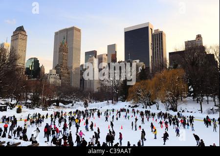 people skate in central park manhattan in new york city - Stock Photo