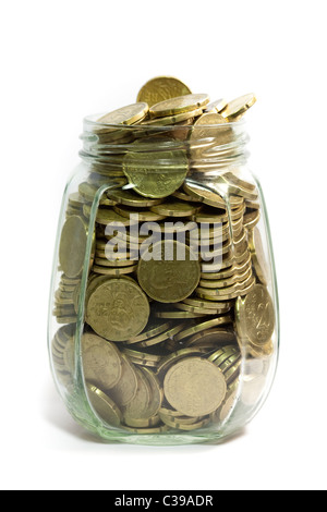 Glass jar full of euro coins, twenty cents, saving money,  on white background - Stock Photo